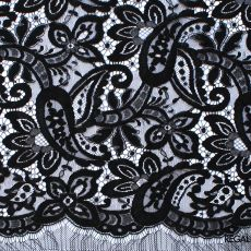 Black French lace trimming with floral design 70 cms