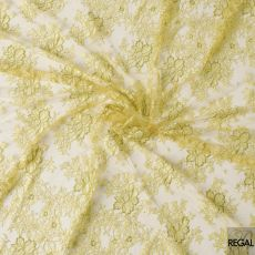 Light gold, beige and moss green multi tone French lace fabric in floral design