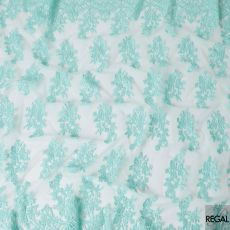 Tiffany blue nylon tulle fabric with same tone embroidery in floral design-D6684