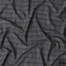 Charcoal grey blended wool suiting fabric with black checks design-D6856