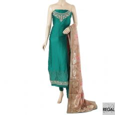 Sacramento green kameez with plain salwar having embroidery and beige to light brown dupatta in fancy design