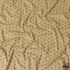 Camel beige synthetic brocade fabric with navy blue embroidery in fancy design-D6065
