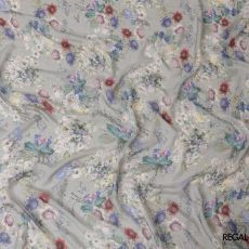 Trout grey silk chiffon fabric with multicolor print in floral design-D6193