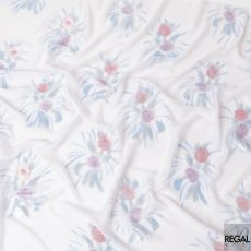 Light thistle purple silk chiffon fabric with baby blue print having lilac, baby blue and silver metallic lurex in floral design-D6629