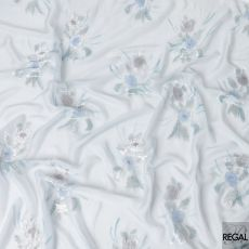 Powder blue silk chiffon fabric with Air force blue print having baby blue and silver metallic lurex in floral design-D6633