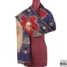 Navy blue blended Kashmiri shawl with beige, peach, copper  and red embroidery in floral design