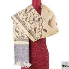 Light gold  blended Kashmiri shawl with black, red and lavender print in paisley design