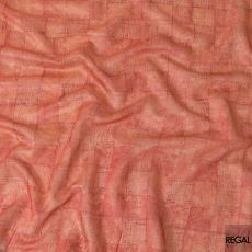 Tiger orange tussar silk fabric with light gold and maroon print in checks design-D6145