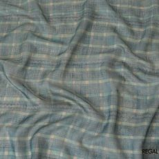 Turkish blue tussar silk fabric with beige and tiffany blue print in checks design-D6146