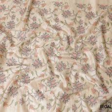 Beige tussar silk fabric with same tone, brown, olive green and salmon pink embroidery in fancy design-D6441