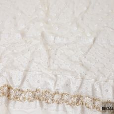 Beige nylon tulle fabric with white and gold embroidery having gold sequins in fancy design-D6907