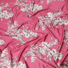 Cerise pink Italian viscose crepe fabric with light beige and black print in floral design-D7063