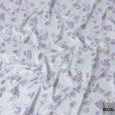 Powder blue synthetic brocade fabric with light lilac and gold weave in floral design-D6301