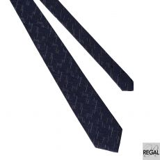 Men's 100% polyester Navy blue tie with white and brown in  abstract design