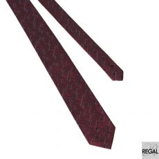 Men's 100% Maroon tie with black, white and gold in abstract design